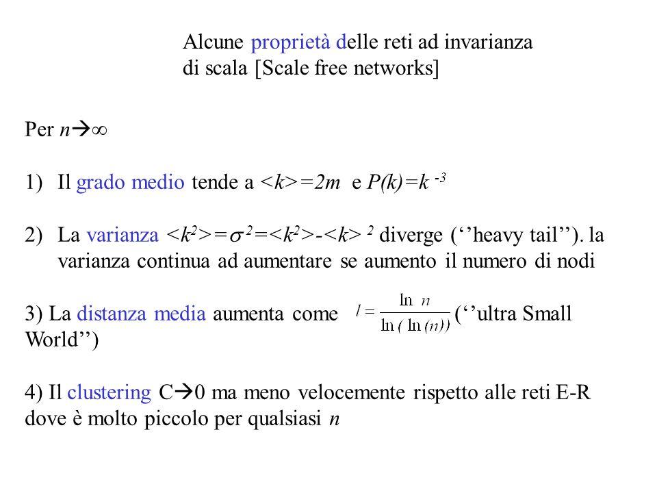 Alcune proprietà delle reti ad invarianza di scala [Scale free networks]